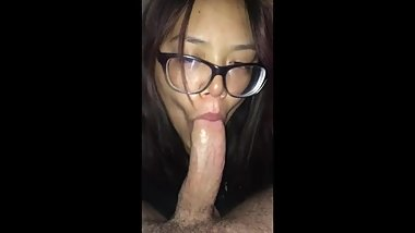 Obedient Asian Slave Gags & Deepthroats Master's Evil White Cock.