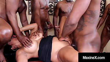 Oriental Orgy! Asian Maxine X Butt Fucks With 6 Black Cocks!