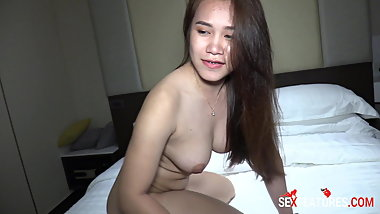 Asian Booty Girl First Interracial Creampie in Thailand