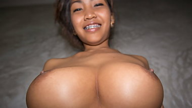 Pumping seed inside Busty Thai girl