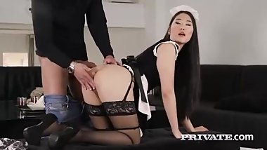 Naughty Asian maid, Katana is always in the mood to suck a hard dick before