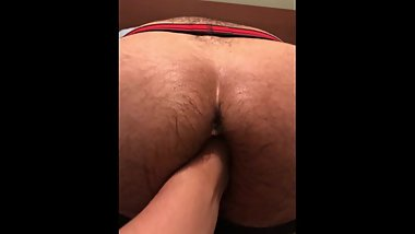 Moaning Latino piggy loves dirty talk while being fisted.