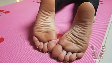 Lani B - Asian Wrinkly Soles On Yoga Mat