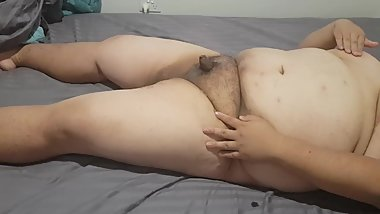 Young Asian Chub with small cock pleasures himself
