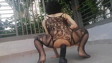 Riding the 11 inches black dildo in public park with my sexy lingerie