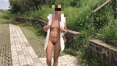 Public Flashing Walking around in my white outfit-Skysexfree