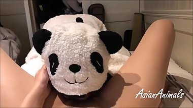 Cute panda girl get fucked and creampie