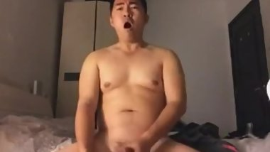 asian chinese straight bear cumshot with loudly moan 1