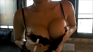 The oh so sexy & hot Asian smoker Mitsuko Doll blowing super hot smoke!
