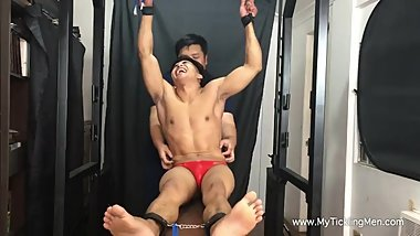 Asian Jock TICKLED by a CHUBBY guy